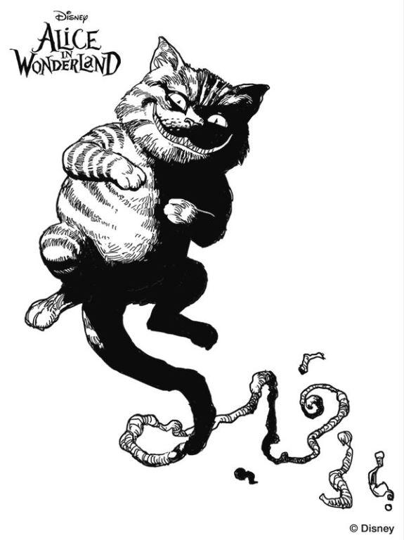 Kids N Fun De Ausmalbild Alice Im Wunderland Cheshire Cat