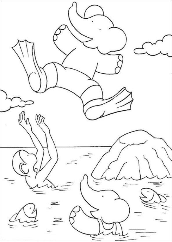 kids-n-fun.de | malvorlage babar der elefant babar der elefant