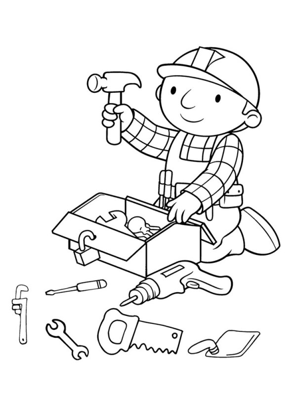 kidsnfunde  malvorlage werkzeuge bob der baumeister