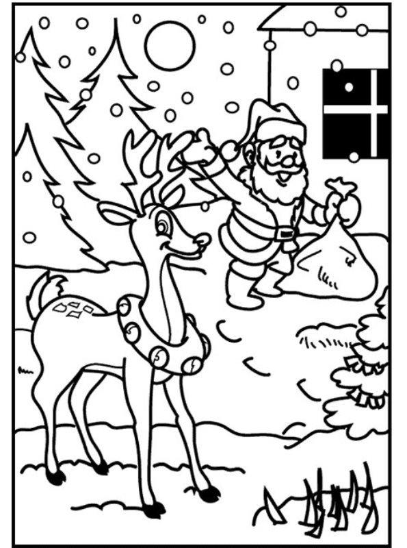 Kerst Kleurplaat Rudolf Kids N Fun De Malvorlage Weihnachten Santa Claus