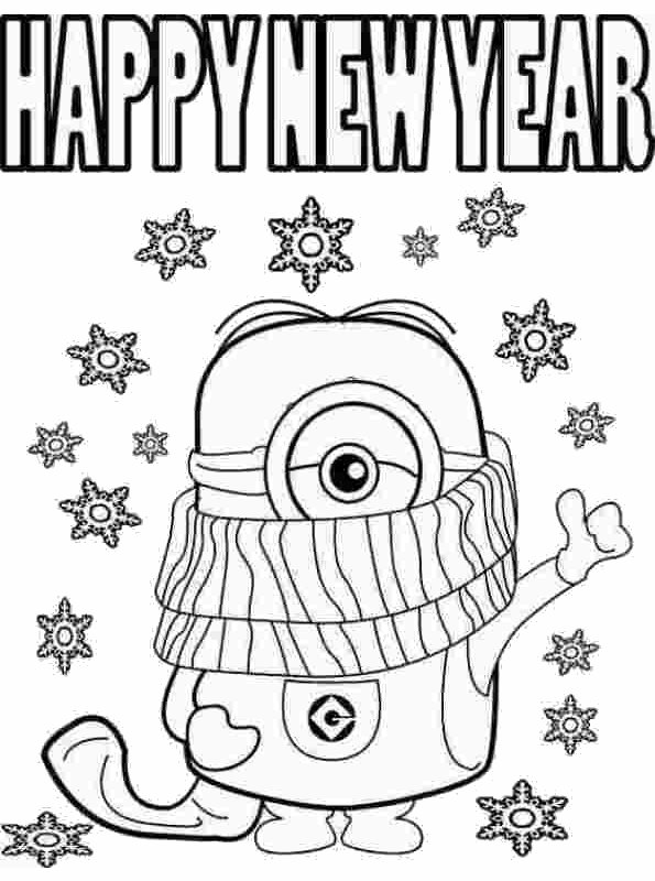 kidsnfunde  malvorlage silvester happy new year minion