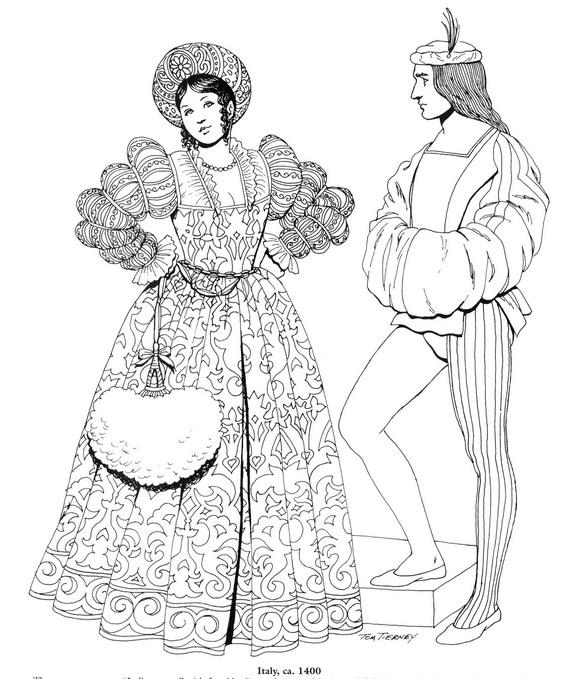 Kids-n-fun.de | 45 Ausmalbilder von Kleidung der Renaissance