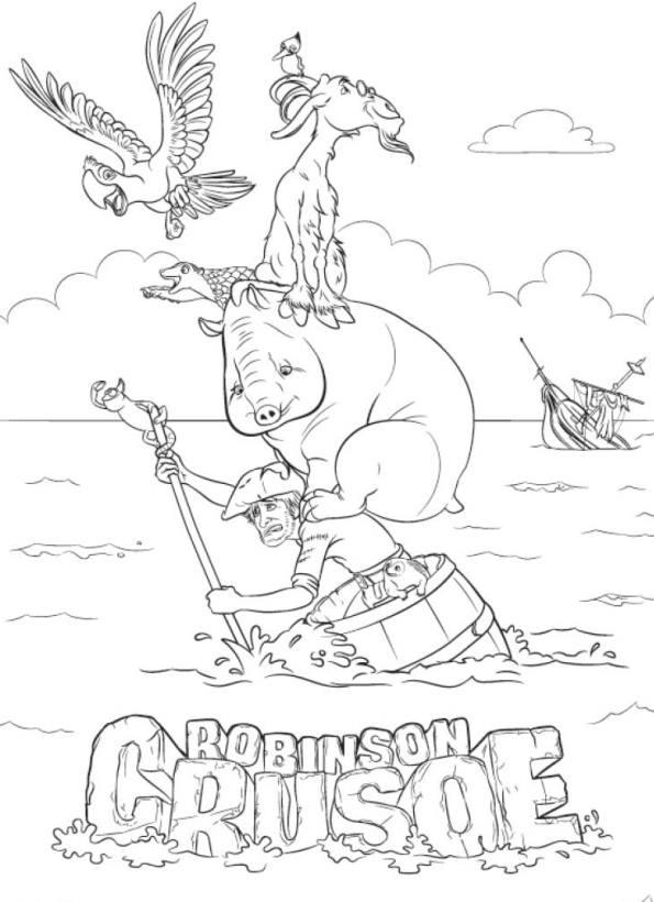 Kids-n-fun.de   11 Ausmalbilder von Robinson Crusoe 3D
